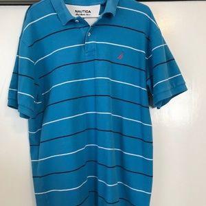 Vintage Nautica Polo Shirt Striped Blue Mens XL